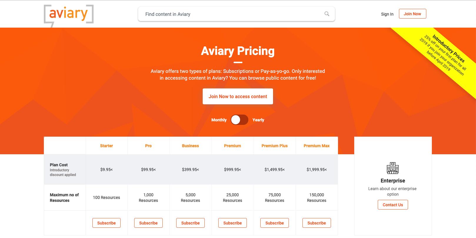 Aviary Pricing Page
