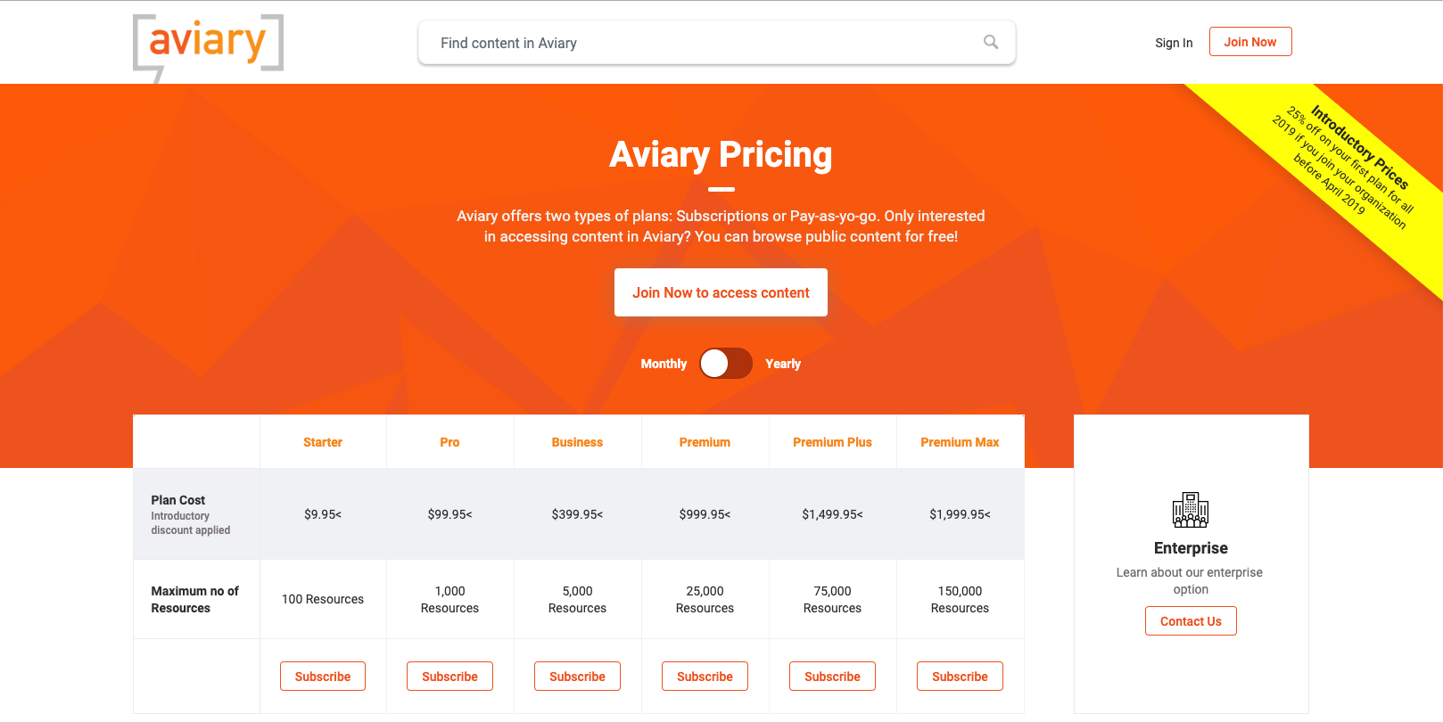 Aviary Pricing Page