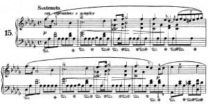 "Opening measures to Chopin's ""Raindrop"""