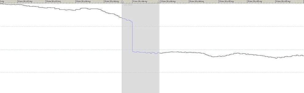 Image of a digital audio waveform exhibiting an error